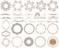 Vektorsamling av dekorativa beståndsdelar för tappning, linjer, prydnader, ramar, calligraphic designer stock illustrationer