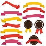 Vektorsamling av dekorativa designbeståndsdelar - band, etiketter royaltyfri illustrationer