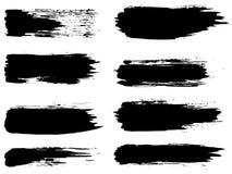 Vektorsamling av den grungy svarta slaglängden för målarfärgborste vektor illustrationer