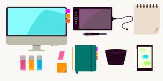 Vektorsamling av den moderna moderiktiga plana affärs- och kontorssymbolen Royaltyfria Bilder