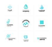 Vektorsamling av den plana logoen för rengörande företag Arkivbilder