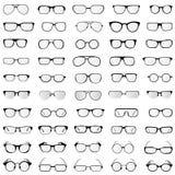 Vektorsamling av exponeringsglas och solglasögon i olika stilar och former royaltyfri illustrationer