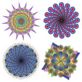 Vektorsamling av färgmandalas Arkivbilder