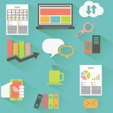 Vektorsamling av färgrika plana affärs- och finanssymboler royaltyfri illustrationer