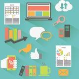 Vektorsamling av färgrika plana affärs- och finanssymboler med lång skugga Arkivfoto