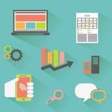 Vektorsamling av färgrika plana affärs- och finanssymboler med lång skugga Arkivfoton
