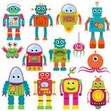 Vektorsamling av färgrika Retro robotar Fotografering för Bildbyråer
