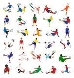 Vektorsamling av fotbollspelare Arkivbild