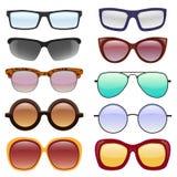 Vektorsamling av glasögon och solglasögon Royaltyfria Bilder