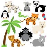 Vektorsamling av gullig zoo, djungel eller vilda djur stock illustrationer