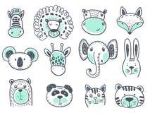 Vektorsamling av gulliga djura huvud royaltyfri illustrationer