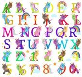 Vektorsamling av gulliga Unicorn Themed Alphabet Letters stock illustrationer