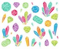 Vektorsamling av härliga kristaller och Gemstones royaltyfri illustrationer