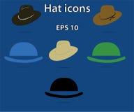 Vektorsamling av hattar eller fotostöttor Samling av huvudbonaden, symboler stock illustrationer