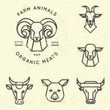 Vektorsamling av illustrationer av isolerade symboler för lantgårddjur i linjär stil royaltyfri illustrationer