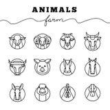 Vektorsamling av illustrationer av symboler för lantgårddjur i linjär stil isolerad vit bakgrund stock illustrationer
