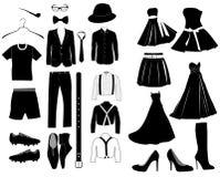 Vektorsamling av isolerade kläderkonturer stock illustrationer