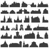 Vektorsamling av isolerade slottar, tempel, kyrkor, domkyrkor, slottar, stadshus, stora byggnader, forntida byggnader och annan royaltyfri illustrationer