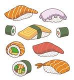 Vektorsamling av japanska sushiillustrationer för tecknad film royaltyfri illustrationer