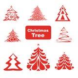 Vektorsamling av julgranar Arkivfoto