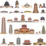 Vektorsamling av kinesiska pagoder och forntida tempel och torn royaltyfri illustrationer