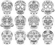 Vektorsamling av klotterdagen av de döda skallarna Royaltyfri Foto