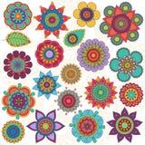 Vektorsamling av klotterstilblommor vektor illustrationer