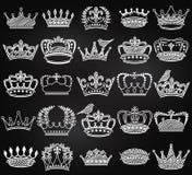 Vektorsamling av konturer för krona för svart tavlatappningstil Arkivfoto