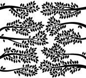 Vektorsamling av lövrika konturer för trädfilial Royaltyfri Fotografi