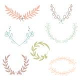 Vektorsamling av lager, blom- beståndsdelar och baner vektor illustrationer