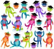 Vektorsamling av ljust färgade för skola och Themed sockaapor för avläggande av examen Royaltyfria Foton