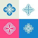 Vektorsamling av logodesignmallar och abstrakta blom- emblem i plan linjär stil vektor illustrationer