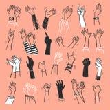 Vektorsamling av mänskliga händer upp, gester, tumme upp som så hälsar, applåd på isolerat på ljus bakgrund vektor illustrationer