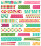 Vektorsamling av mönstrade Washi bandremsor Royaltyfri Foto