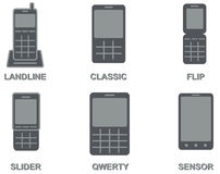 Vektorsamling av mobiltelefontyper royaltyfri illustrationer