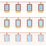 Vektorsamling av olika fönstertyper För inre och yttre bruk Plan stil Fotografering för Bildbyråer