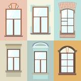 Vektorsamling av olika fönstertyper För inre och yttre bruk Plan stil Royaltyfri Fotografi