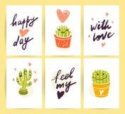 Vektorsamling av plana gulliga förälskelsekort med rolig hand drog kaktussymboler och stående och att märka lyckönskan och hjärta