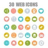 Vektorsamling av plana och färgrika rengöringsduksymboler på SEO-, affärs-, shopping- och teknologitema Arkivfoto