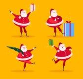 Vektorsamling av plana roliga Santa Claus tecken med granträdet och gåvaaskar som isoleras på gul bakgrund stock illustrationer