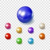 Vektorsamling av realistiska 3D sfärer, pärlor på genomskinlig bakgrund royaltyfri illustrationer