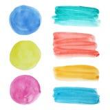 Vektorsamling av runda fläckar och sudd för vattenfärg Royaltyfri Foto
