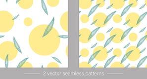 Vektorsamling av sömlösa modeller med gröna tropiska sidor med gula cirklar stock illustrationer