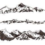 Vektorsamling av skissade berg och kullar, hand drog illustrationer royaltyfri illustrationer