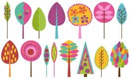 Vektorsamling av skraj Retro stiliserade träd Arkivbilder