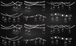 Vektorsamling av svart tavlastil Mason Jar Lights Royaltyfri Fotografi