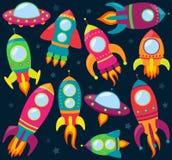 Vektorsamling av tecknade filmen Rocketships Arkivfoton