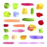Vektorsamling av vattenfärgborsteslaglängder, färgrika målarfärgfläckar stock illustrationer