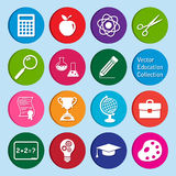 Vektorsamling: uppsättning av utbildningssymboler Arkivbilder