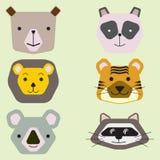 Vektorsamlingen av gulliga djura framsidor, symbolsupps?ttningen f?r behandla som ett barn design royaltyfri illustrationer